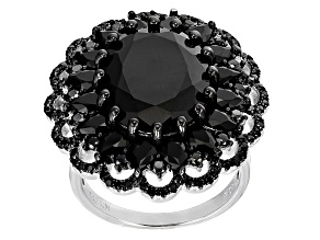 Black Spinel Sterling Silver Ring 14.02ctw
