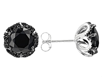 46c15c1e5bb12 Black Spinel Sterling Silver Earrings 5.11ctw
