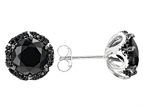 Black Spinel Rhodium Over Sterling Silver Earrings 4.55ctw