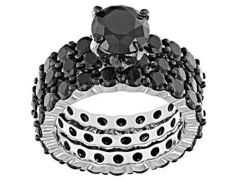 Black Spinel Rhodium Over Sterling Silver Set Of Three Rings 11 25ctw Docw120 Jtv Com