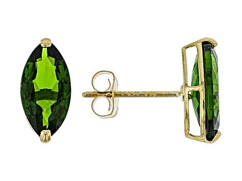 Green Russian Chrome Diopside 10k Yellow Gold Stud Earrings 1 80ctw