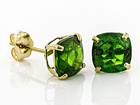 Green Russian Chrome Diopside 10k Yellow Gold Stud Earrings 1.87ctw