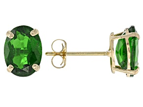 Green Russian Chrome Diopside 10k Yellow Gold Stud Earrings 2.68ctw