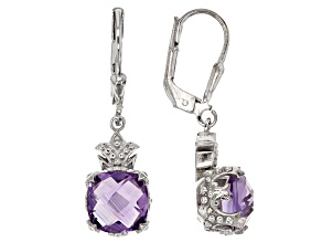 Purple Brazilian Amethyst Rhodium Over Sterling Silver Dangle Earrings 4.00ctw