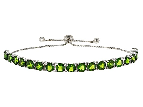 Green Russian Chrome Diopside Sterling Silver Bolo Bracelet 10 70ctw
