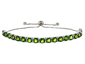 Green Russian Chrome Diopside Rhodium Over Sterling Silver Bolo Bracelet 10.70ctw