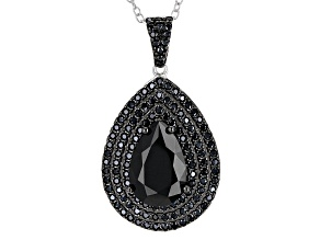 Black Spinel Sterling Silver Pendant With Chain 4.15ctw