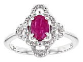 Red Burmese Ruby Sterling Silver Ring .77ct