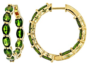 Green Russian Chrome Diopside 18k Yellow Gold Over Sterling Silver Hoop Earrings 9.50ctw