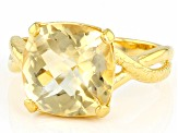 Yellow Brazilian Citrine 18k Yellow Gold Over Sterling Silver Ring 6.50ct