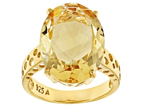 Yellow Brazilian Citrine 18k Yellow Gold Over Sterling Silver Ring 12.00ct