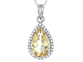 Yellow Brazilian Citrine Sterling Silver Pendant With Chain 3.98ctw