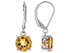 Yellow Brazilian Citrine Sterling Silver Dangle Earrings 3.75ctw