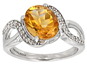 Yellow Brazilian Citrine Rhodium Over Sterling Silver Ring 3.12ctw