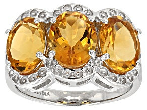 Yellow Brazilian Citrine Sterling Silver 3-Stone Ring 5.75ctw