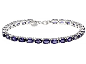Blue Iolite Rhodium Over Sterling Silver Tennis Bracelet 8.80ctw