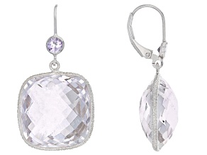 Purple Brazilian Amethyst Sterling Silver Dangle Earrings 35.70ctw