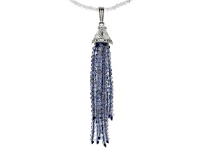 Blue Tanzanite Sterling Silver Bead Strand Necklace 25.00ctw