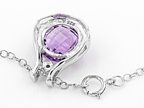 Purple Brazilian Amethyst Rhodium Over Sterling Silver Pendant With Chain 3.52ctw