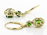 Green Russian Chrome Diopside 10k Yellow Gold Earrings 2.64ctw
