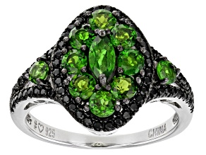 Green Russian Chrome Diopside Rhodium Over Sterling Silver Ring 1.93ctw