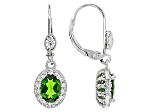 Green Russian Chrome Diopside Sterling Silver Dangle Earrings 2.54ctw