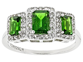 Green Russian Chrome Diopside Rhodium Over Sterling Silver Ring 1.68ctw