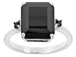 Black Spinel Sterling Silver Ring 3.75ctw