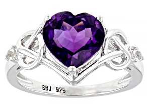 Purple Brazilian Amethyst Sterling Silver Ring 2.45ctw