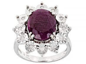 Red Ruby Rhodium Over Sterling Silver Ring 5.05ctw