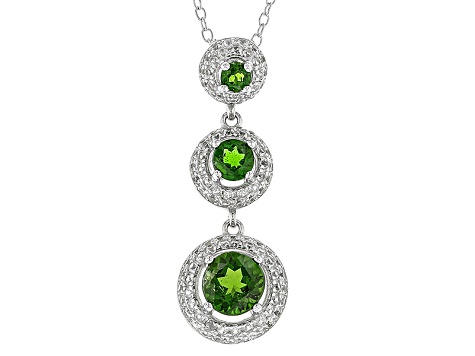 Green Russian Chrome Diopside Sterling Silver Pendant With Chain 2.20ctw