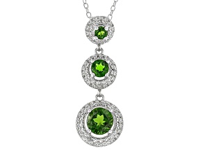Green Russian Chrome Diopside Rhodium Over Sterling Silver Pendant With Chain 2.20ctw