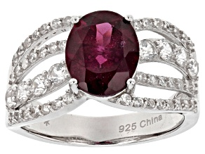 Raspberry color Rhodolite Sterling Silver Ring 3.82ctw