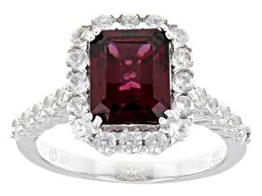 Raspberry Color Rhodolite Sterling Silver Ring 4.77ctw