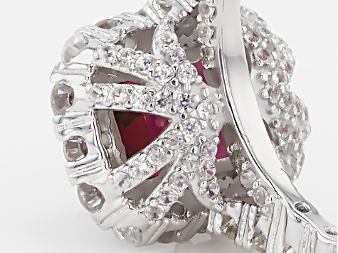Raspberry Color Rhodolite Sterling Silver Ring 4.77ctw