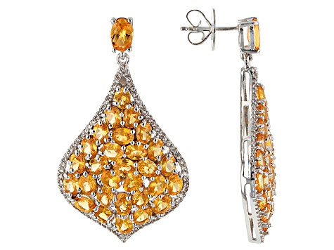 Orange Mandarin Garnet Rhodium over Silver Earrings 13.49ctw