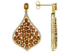 Orange spessartite 18k gold over silver earrings 14.02ctw
