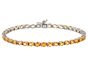 Orange Spessartite Garnet Rhodium Over Sterling Silver Bracelet 7.65ctw