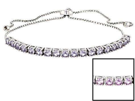 Color Change Lab Created Alexandrite Sterling Silver Adjule Bolo Bracelet 2 35ctw
