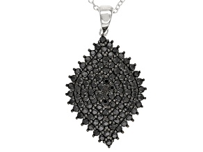 Black Spinel Sterling Silver Pendant With Chain 1.84ctw