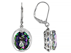 Multi Color Quartz Rhodium Over Sterling Silver Dangle Earrings 8.00ctw