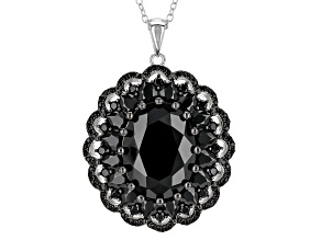 Black Spinel Sterling Silver Pendant With Chain 14.02ctw