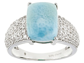 Blue Larimar Sterling Silver Ring 3.84ctw