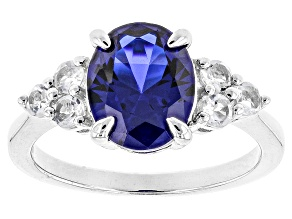 Blue Lab Created Spinel Rhodium Over Sterling Silver Ring 2.89ctw