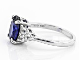 Blue Lab Created Spinel Sterling Silver Ring 2.89ctw