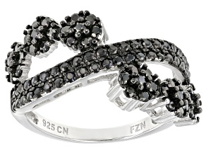 Black Spinel Sterling Silver Ring 1.38ctw