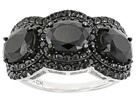 Black Spinel Sterling Silver Ring 4.25ctw