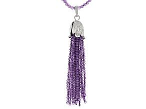 Purple Brazilian Amethyst Sterling Silver Bead And Tassel Necklace 50.00ctw