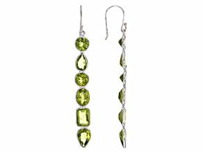 Green Peridot Sterling Silver Dangle Earrings 12.50ctw