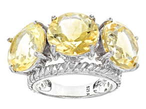 Yellow Brazilian Citrine Sterling Silver 3-Stone Ring 18.00ctw